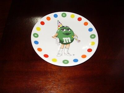 """M&m's M&m Green Girl Birthday Plate 6"""" Excellent Condition Never Used"""
