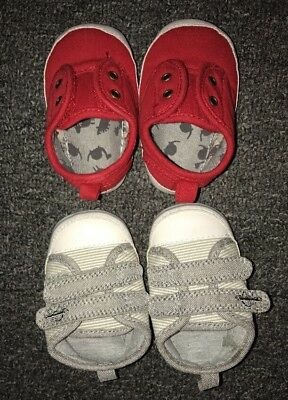 Brand New Next Baby Boys Pram Shoes. Red & Grey. Age 0-3 Months
