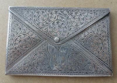 Silver Edwardian envelope style card holder 1907. JO-4640