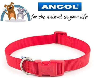 Ancol Heritage Red/Black/Blue Nylon Dog Puppy Fully Adjustable Collar All Sizes