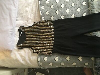 Girls M&S Playsuit Aged 11-12 Black With Sequins