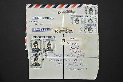 Brunei - 4 Registered Covers from Yr 1962/73 - Posted to Singapore (LC314)