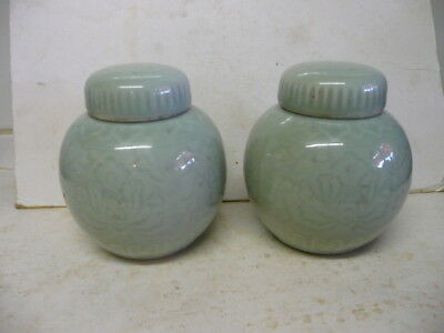 Vintage Chinese Celadon Ginger Jars, Marked To Base