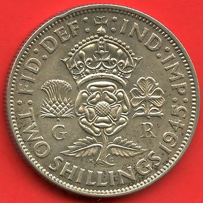 1945 Great Britain 2 Shilling Silver Coin ( 11.31 Grams .500 Silver )