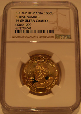 Romania 1983 FM Gold 1000 Lei NGC PF-69UC Serial Number 0006/1000