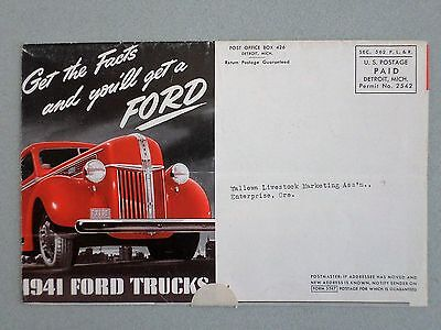 1941 FORD TRUCKS SALES FOLDER MAILER; Rare Pre-War Sales Brochure