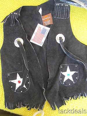 New John R Craighead USA Maker Leather Western Cowboy Vest Kids 10 Black