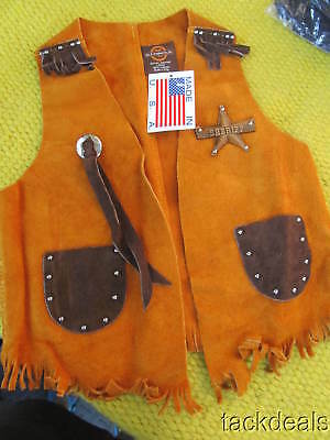 New John R Craighead USA Made Leather Brown Kids Western Cowboy Vest L