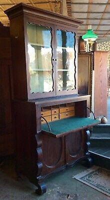 Antique Victorian 1850s Scrolled Empire Butlers Desk Secretary