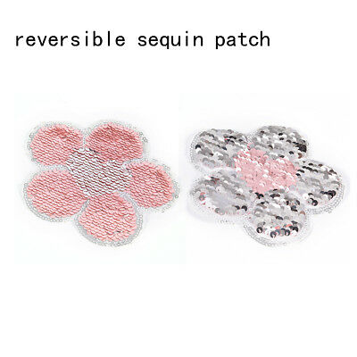 sweater sew on reversible color applique flower sequins patch embroidered Pip HF