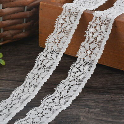 5Yards BDWhite Elastic Lace Trim Ribbon Fabric 2.5cm Decor Crafts Sewing Suppies