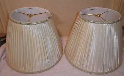 "Pair Signed Stiffel Lined & Pleated Lamp Shades 16"" Diameter x 12"" Tall"