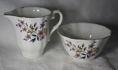 Royal Grafton Fine Bone China Pink Floral Gold Trim Sugar and Creamer Set