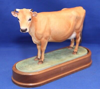 Royal Worcester Jersey Cow By Doris Lindner With Stand & Framed Certificate