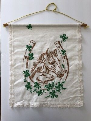 Vintage Horse Head Wall Hanging Hand Stitched