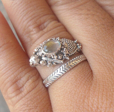 5x 925 Sterling Silver Balinese Dragon Ring Free Size With Labradorite-RD001