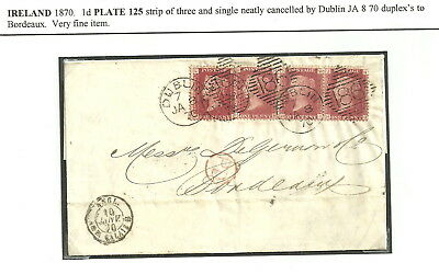 1D Rose Red Plate Number 125 Strip Of Three + Single Dublin Duplexs 1870