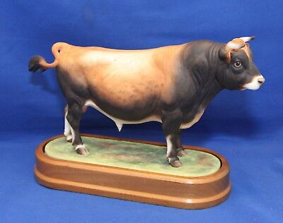 Royal Worcester Jersey Bull By Doris Lindner With Stand & Framed Certificate