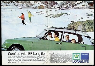 1965 Citroen DS 21 green car skiing family photo BP oil gas vintage print ad