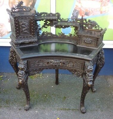 Fantastic 19th Century Chinese Desk Profusely Carved With Dragons Etc