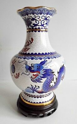 Beautiful Old Chinese Cloisonne Vase - 5 Clawed Imperial Dragon - Seal Mark