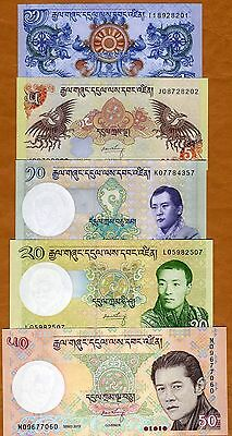 SET, Bhutan, 1;5;10;20;50 Ngultrum, 2006-2013 P-New, UNC