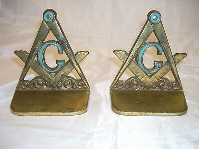 Vintage Pair  Of Metal Masonic Bookends No.3252 Heavy Book Ends