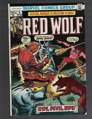 Red Wolf Avenger of the Western Plains 1973 Marvel Western Comic Book #6 EF