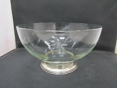 Boardman Floral Etched Glass Bowl With Sterling Silver Base