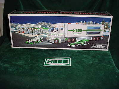 03 Graduation  Birthday Gift  2003 Hess Trucks Toys Truck + Two Indy  Racers Mib