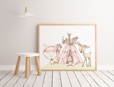 Baby, Girl Nursery or Bedroom Wall Art decor prints Boho Woodland Animals floral