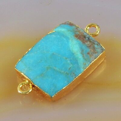 16x12mm Natural Genuine Turquoise Connector Gold Plated H110578