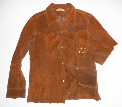 Vtg 60s ZIG ZAG Rolling Papers Split CowHide LEATHER Shirt Jacket BROWN Hippie L