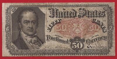 1874-1876 5th Issue 50¢ Fractional Currency,FR.1381,Crawford Bust,VF,Nice!