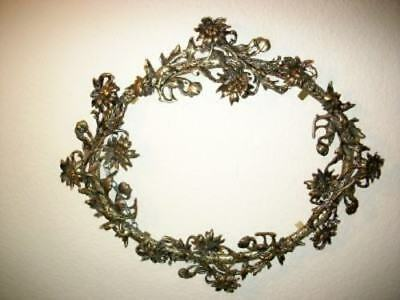 Antique Filigree Ormolu Floral Oval Picture Mirror Frame Lush Large French Chic