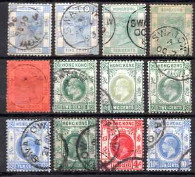 HONG KONG  used in SWATOW  THREE REIGNS 12 STAMPS