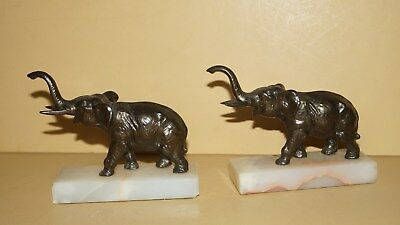 Vintage Lot Of 2 Home Decor Metal Elephant Figurines On Marble Bases -Neat!!