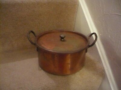 A Vintage Copper Saute Pan Tin Lined With Lid And Two Handles