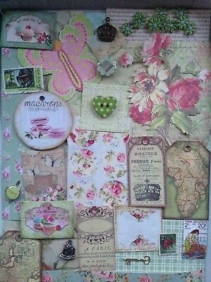 Paper Ephemera, embellishments for collage, scrapbooking, card making greens