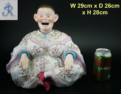 SUPER LARGE! RARE! Antique German Porcelain Nodding Head Pagoda Figure Meissen