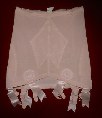 Vtg 60s VANITY FAIR Open Bottom Girdle Panties PINK Floral Lace Straps USA Md