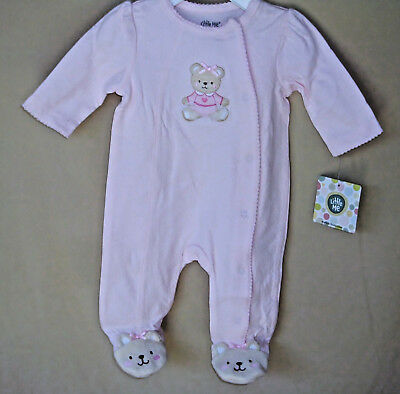 LITTLE ME 100% Soft Cotton Pink BABY BEAR Footie  NWT