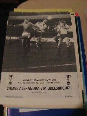 1987-88 Crewe Alexandra v Middlesbrough FA youth Cup 4th round 22.2.1988