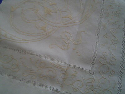 Vintage Arts And Crafts Embroidered Linen Tablecloth Gold Thread - 33 Inch Sq