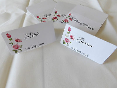 18 Personalised  place cards with floral design  'new for 2016'
