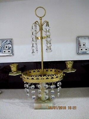 Beautiful Crystal & Marble Double Candlestick,in Brass,38 Cm Tall