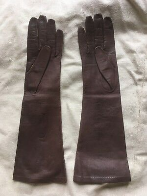 Beautiful French vintage brown kid leather elbow length gloves silk lined size 7