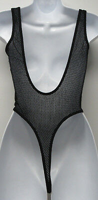 Vtg 80-90's SOFTOUCH by Susan Fixel Sheer Fishnet Mesh Thong Leotard Womens S/M?