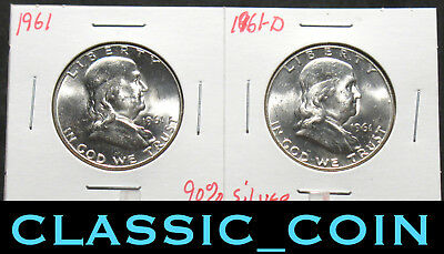 2 SILVER FRANKLIN HALF DOLLARS 50c BU/MS+++ 1961 AND 1961-D FREE S/H