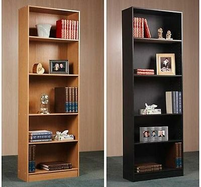 Bookcase Wide 5 Shelf Adjustable Wood Bookshelf Shelving Orion Home Storage  Room